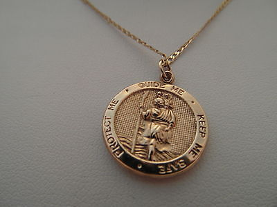 194f Vintage Ladies Gents 9ct Gold St Christopher